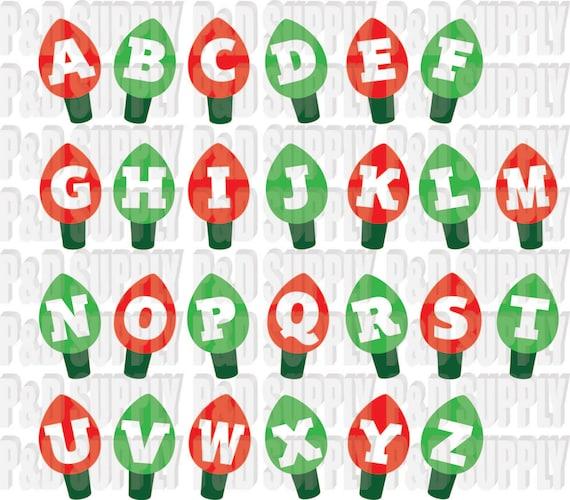 Christmas lights alphabet letters