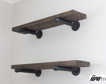 Rustic Industrial Pipe Shelf || Rustic wood shelves with industrial pipe mount || pipe wood shelf || bathroom shelf || custom wood furniture