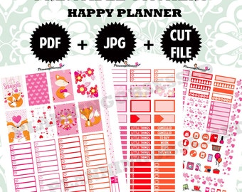 SALE 25% OFF/ Foxy Love Valentines Day Happy Planner Stickers/ Happy Planner Stickers / Valentines day printable stickers
