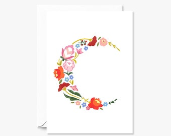 Floral Crescent Moon Illustrated Greeting Card