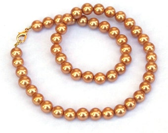 Probably Fake Pearl Necklace - pearl choker necklace - Champagne pearls - fake pearls - gold wire necklace