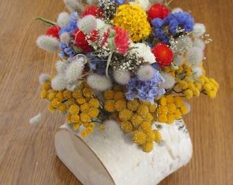 Dried flower arrangement, rustic wedding decor, floral arrangement, wedding centerpiece,home decor,birch log decor,dried flowers,table decor