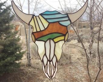 Stained Glass Cow Skull Suncatcher.Cerro Pedernal Skull Stained Glass.Ghost Ranch Inspired Suncatcher.Georgia O'Keefe Inspired Stained Glass
