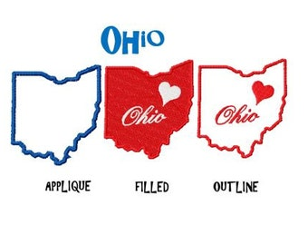 Bogo free Embroidery Design,  Ohio  Map 4.5in size