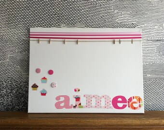 "Personalised decorative peg board - with fabric cupcake icons - 18"" x 24"" - aimee"