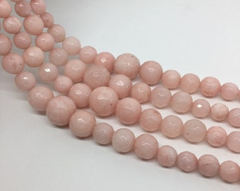"16""Full Strand 6-14mm Pink Jade Graduated Faceted Round Beads, Wholesale Graduated Necklace"