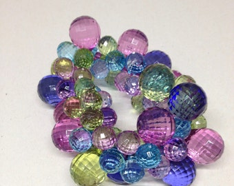 Faceted Colorful Resin Bead Bracelet