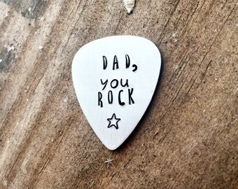 Dad You Rock Guitar Pick Metal Guitar Pick Guitar Pick Hand Stamped Guitar Pick Gift Gift for Dad Fathers Day Gift Dad