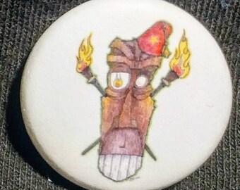 Fez Tiki Pinback Button