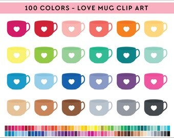 100 coffee cup Clipart, Commercial use, PNG,  Digital clip art, Digital images, Rainbow digital scrapbooking clip art, coffee clipart, mug