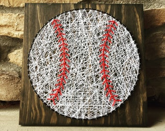 Baseball String Art Stain Wood Sign Home Decor Kids Room Decoration Boy Gift Made to Order Coaches Gift Great gift for teachers appreciation