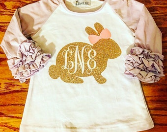 Easter Bunny Ruffle Raglan with Monogram. Girls Easter Rabbit tshirt personalized. Baby & toddler sparkle tee.