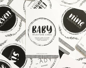 Baby Milestone Cards | Black + White | Baby Shower Gift | 32 Cards