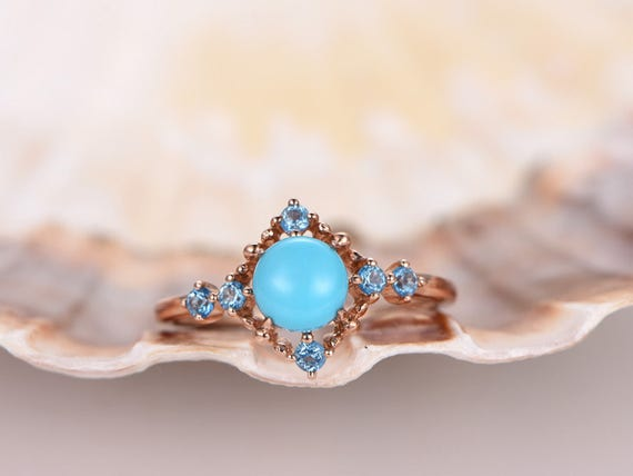 1ct round cut VS natural Turquoise engagement ring,Turquoise wedding ring,sky blue topaz halo,solid 14k rose gold wedding ring,bridal ring