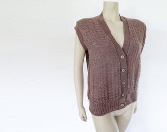 Vintage Tank, Large, Wool Vest, Boho Clothing, Ladies Clothing, Hippie, Festival Clothing, Brown Vest, Brown Tank Top, Wool Waistcoat