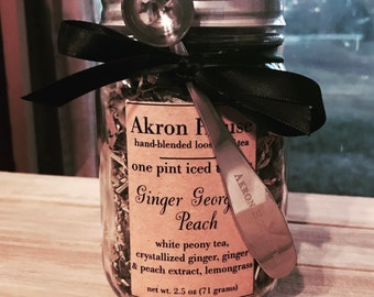 One Pint Iced Tea Jar, Akron House Hand-Blended Loose Leaf Tea
