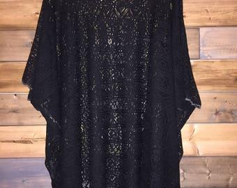 Black Crochet Cover Up