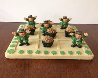 Irish Leprechaun Tic Tac Toe, Resin, St. Patrick's Day, Vintage Game, Pot of Gold