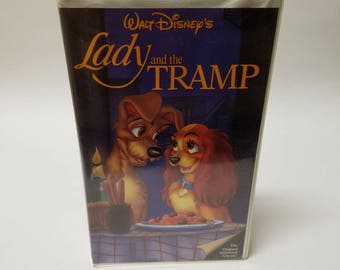 Vintage Disney Lady and the Tramp Clamshell VHS Tape Black Diamond Edition