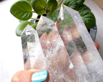 Quartz Crystal Point, Large Quartz Points, Natural Quartz Crystal Points, Generator Crystal Tower for Crystal Grid and Reiki Chakra Healing