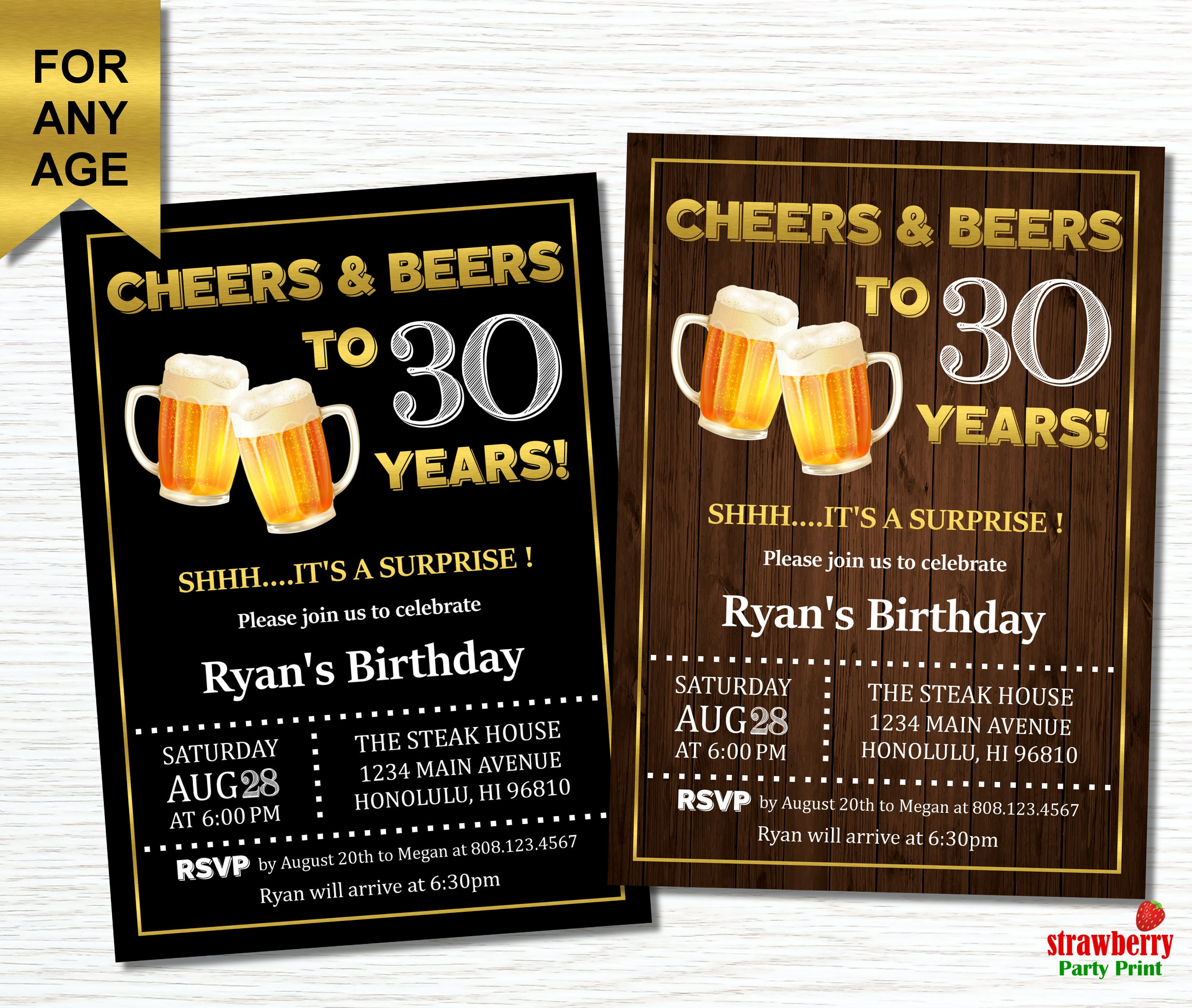 30th Birthday Invitation For Him Cheers And Beers To 30