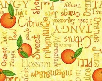 """By The HALF YARD - Gerdie's Grove by Debi Hubbs for Studio e, 7/8"""" Tonal Oranges with Green Leaves and Orange words on Tonal Yellow"""