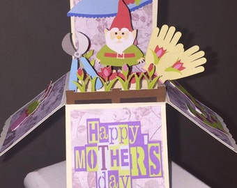 Mother's day card, birthday card, pop up box card, Gardening