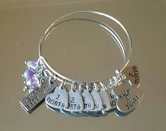 Hand stamped sobriety bangle. Can be personalised in any way