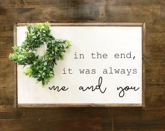 Framed Wooden Sign with Romantic Saying