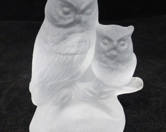 Goebel Frosted Glass Horn Owls Figurine Paperweight -  Vintage and Collectible