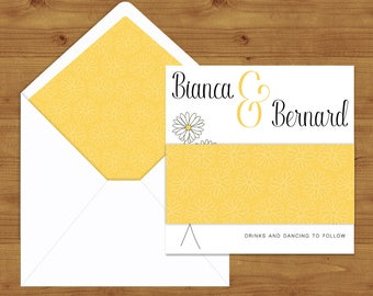 Lemon Yellow Daisy Belly Bands and Envelope Liners - Yellow Wedding - Lemon Wedding - Wedding Invitation Extras - Wedding Stationery