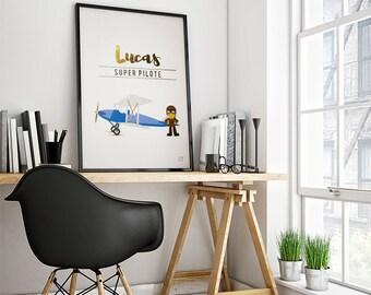Poster trades: Pilot - customizable - gilding - color-decoration - child - room