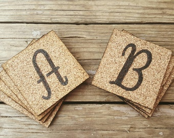 Monogram Cork Coasters Set of 4