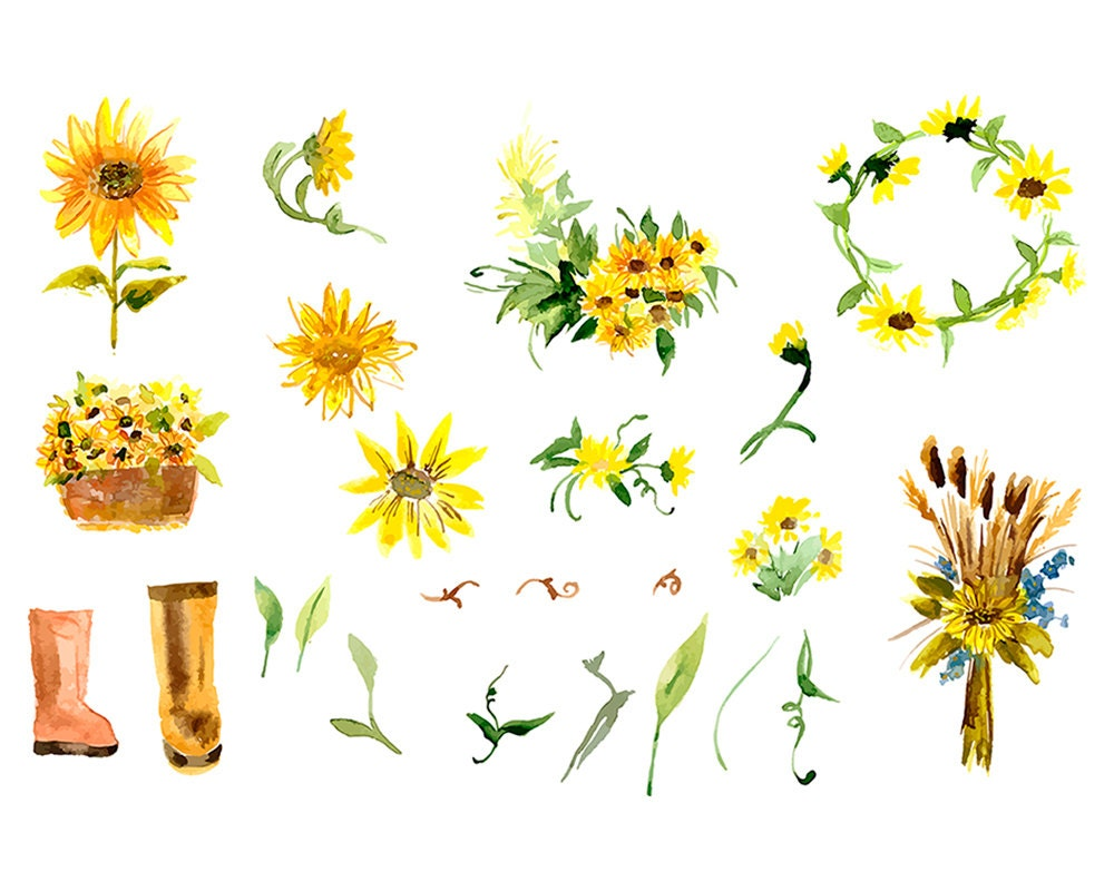 Sunflower Watercolor Wreath & Bouquets. Boho Flowers ...