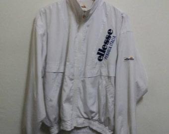 Vintage Ellesse Pullover jacket windbreaker with hoodie/white/large/hiphop/sportwear