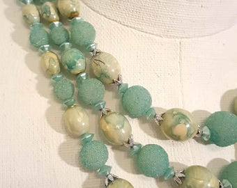Mint Turquoise 3 Tiered Vintage Necklace with Frosted and Marbled Beads