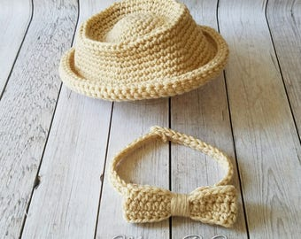 Crochet Fedora Hat and Bow Tie, Crochet Fedora Hat, Crochet Bow Tie, Fedora Baby Hat, Baby Bow Tie, Bow Tie, Photo Prop Baby Set