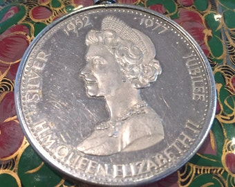 Silver Jubilee Queen Elizabeth II coin pendant on sterling chain