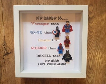 Personalised superhero lego frame daddy brother uncle son any name/ text . 5 figures as seen. Birthday Fathers day