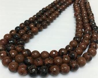 8mm Faceted Mahogany Obsidian Jasper Beads, Gemstone Beads, Wholesale Beads
