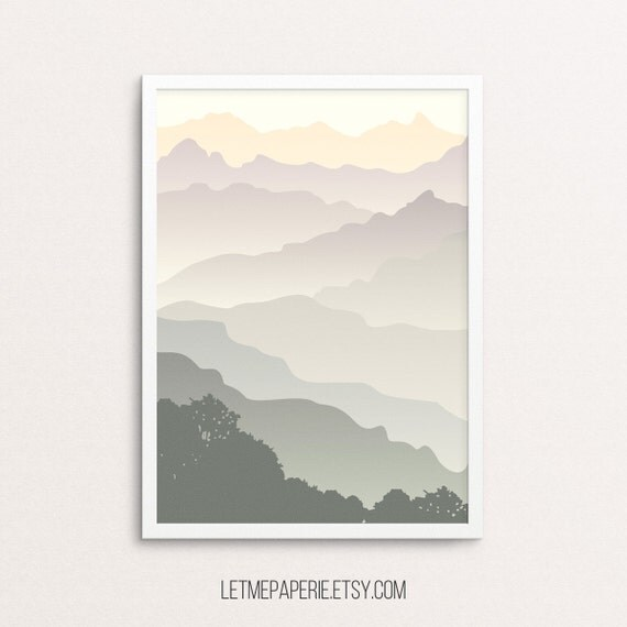 Mountain Print, Mountains Printable, Forest print, Mountain Landscape, Printable forest, Abstract wall print, Minimalist Print, Digital art