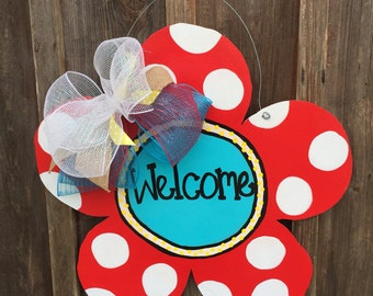 Wooden Door Hanger, Flower Door Hanger, Spring Door Hanger, Summer Door Hanger