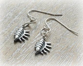 Sterling Silver Shell Earrings,  Sterling Silver Earrings, Sterling Silver Drop Earrings,  Shell Jewellery, Beach Jewellery, Bestfriend Gift