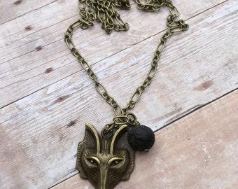 Fox Antique Bronze Essential Oil Diffuser Pendant Necklace Lava Stone Necklace Long necklace Essential Oil Necklace Diffuser Aromatherapy