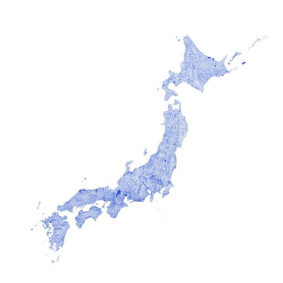 Waterways Of Japan Map Art Printable Japan Map Print Japan - Japan map printable