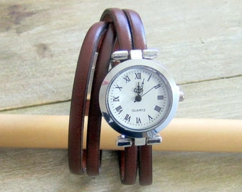 Watch Leather Bracelet Brown, 2 turns of wrist, 10MM magnetic silver plated clasp