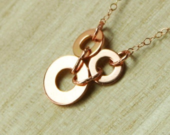 Hardware Jewelry, Rose Gold Washer Necklace, Hardware Necklace, Jewelry Made from Hardware, Upcycled Necklace, Delicate Hardware Pendant,