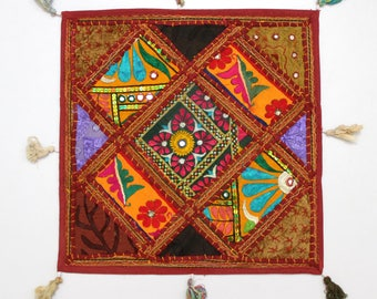Handmade Hippie Gypsy Home Decor Ethnic Multi color Embroidered Hippy Patchwork Bohemian Pillow Shams Couch Cushion Cover Case G808