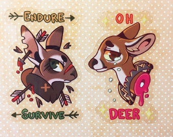 Transparent Gory Stickers - Deer and Rabbit