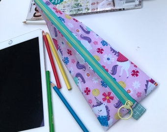 Pink Unicorns stationary case/ pouch/ bag ( Water Resistant fabric lining)